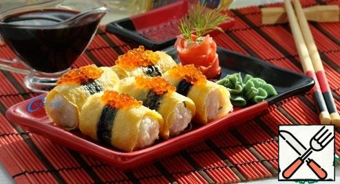 Serve traditionally with soy sauce, wasabi and pickled ginger.