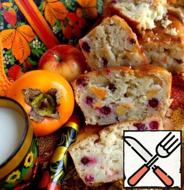 Semolina Cake with Persimmon and Cranberries Recipe