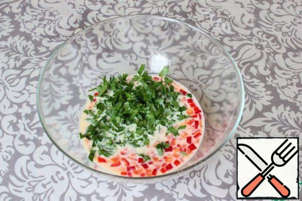 Next, add finely chopped parsley (pre-washed in water) to the bowl.