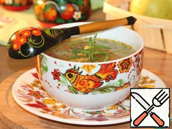 Delicious and rich soup is ready! Serve the soup with sour cream and herbs.Bon Appetit!