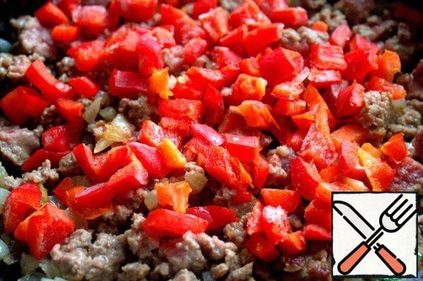 Add the chopped pepper.