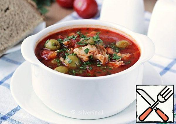 Tomato Soup with Fish and Olives Recipe