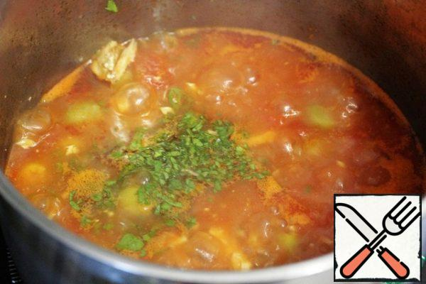 Add the finely chopped parsley to the soup, stir and remove the soup from the heat. Let it stand for 5-10 minutes (don't forget to remove the Bay leaf).