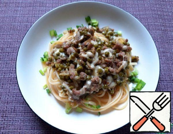 Pasta a La Boscaiola with Mushrooms and Green Peas Recipe