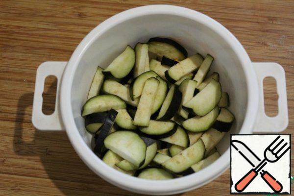 Cut the eggplant and put it in the microwave for 5 minutes or cut it and boil it slightly.