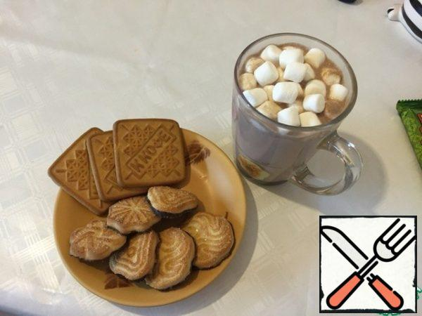 When serving, put marshmallows in a Cup. Done!