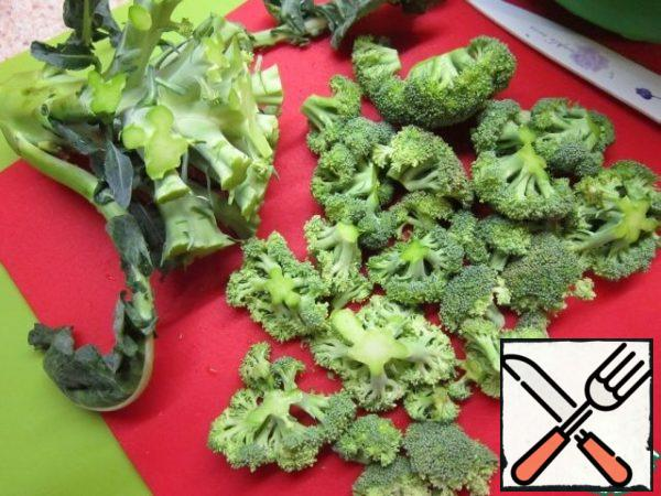 with broccoli, cut off the inflorescences.