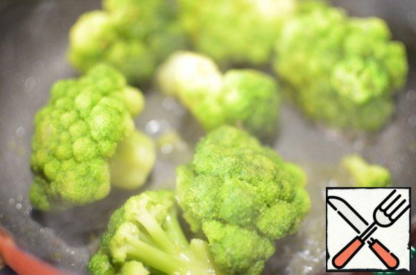 fry the broccoli in a small amount of olive oil.