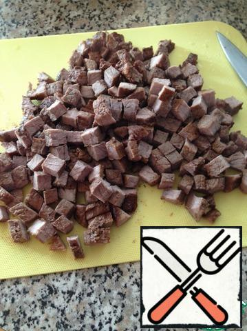 The meat is cut into small cubes.