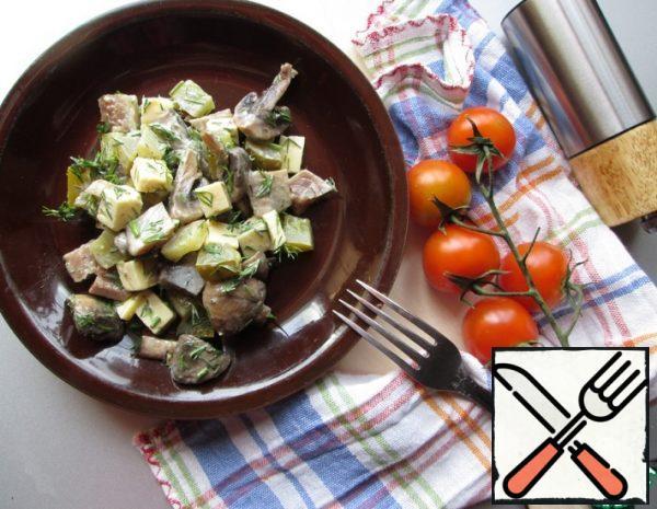 Salad of Herring, Mushrooms and Cheese Recipe