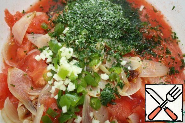 Chop the garlic, pepper and parsley. Sprinkle with lemon juice, salt and pepper to taste.
