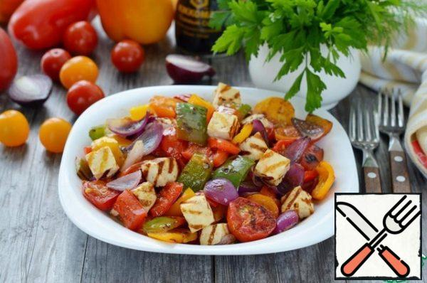 Fold in the warm vegetables and cheese, pour over the dressing, mix gently and serve immediately.