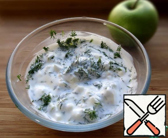 For dressing, add apples and dill to the yogurt, season with salt and pepper to taste.