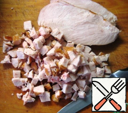 Cut the chicken breast into cubes (approximate size-like beans). Add to the rest of the ingredients.