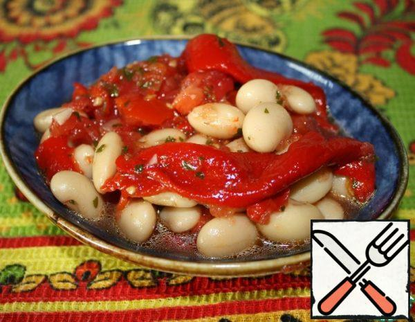 Appetizer of Beans and baked Peppers Recipe