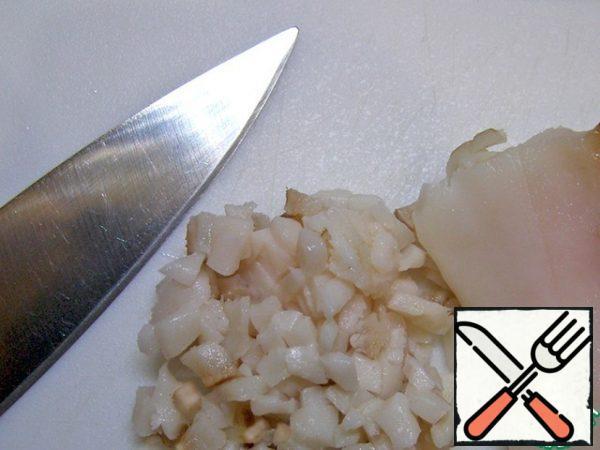 Finely chop the lard.