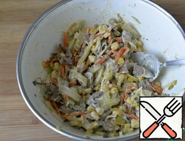 Add mayonnaise or sour cream, or a mixture of: mayonnaise/sour cream. Stir.