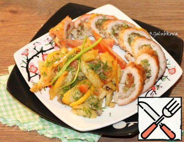 Meat Rolls with Stuffing and Potatoes Recipe