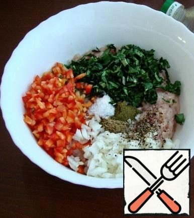 """While the dough is """"resting"""", prepare the filling. To the minced meat, add finely chopped onions and bell peppers, chopped parsley, salt, hops-suneli and a mixture of ground peppers. Pour in the vegetable oil and mix everything well. Cook quail eggs."""