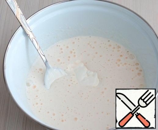 Then add sour cream (100 gr.)