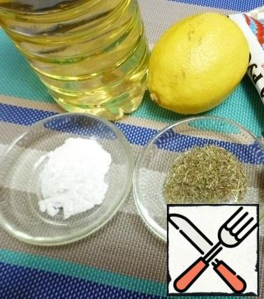 Prepare the ingredients for the mustard-lemon sauce. The amount of sauce depends on how much you want to cook it. Adjust the acid to taste, too. Someone likes the taste of lemon, and someone will seem sour. So use water or broth to dilute the lemon juice.