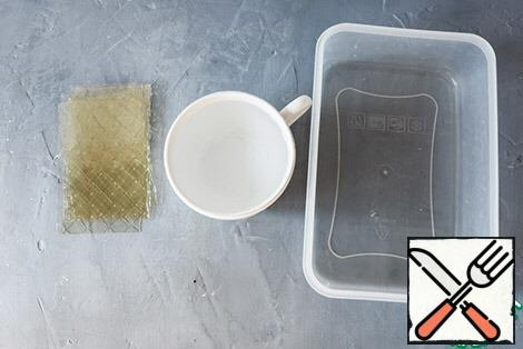 Soak the gelatin in plenty of water.