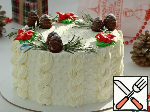 """The finished cake is decorated to your liking and can be served to the table. Since this is a winter cake, so I decided to """"insulate"""" it by knitting it a warm and cozy sweater...)))"""