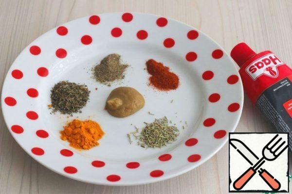 Prepare a set of spices: Mustard- (1 teaspoon), ground black pepper (1 teaspoon), turmeric- (1 teaspoon), mint-1 (teaspoon), rosemary- (1 teaspoon), smoked paprika - (1 teaspoon).