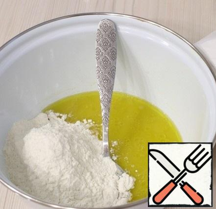 Next, add the flour. Knead a soft dough. Cover the bowl with a towel and put it in a warm place to rise. After the first rise, knead the dough and put it to rise again for at least 2-2. 5 hours.