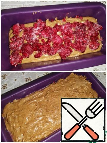Sift the wheat flour with baking powder and mix. in a greased 10x20 form, put most of the dough, place the raspberries (currently frozen) on top in an arbitrary order, then the rest of the dough. Level it out. Bake in a preheated 180°C oven for 40-50 minutes. !! focus on the work of your oven!!