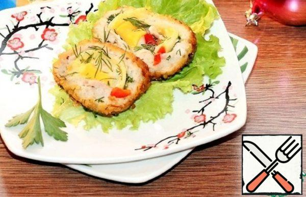 Cutlets Stuffed with Cheese, Onions and Bacon Recipe