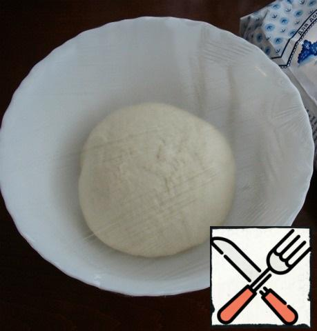 In a bowl, sift the flour, add dry yeast, salt, sugar, pour in vegetable oil and milk. Knead the dough. At first, it will be sticky, but in the process of kneading for 5-10 minutes, it will become soft, elastic and practically will not stick to your hands. Brush the bowl lightly with vegetable oil, round the dough, place in a bowl, cover with a napkin or cling film and put in a warm place for about 40-50 minutes.