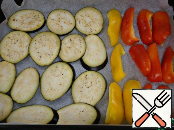 Similarly, bake until soft-eggplant and bell peppers.