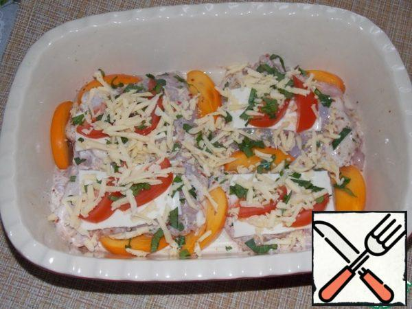 Top with chopped parsley and sprinkle with grated, hard cheese. Bake at 180C, for 45-50 minutes.