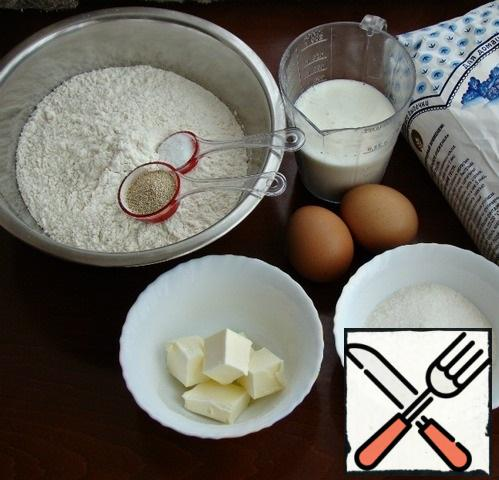 Prepare all the necessary ingredients for the dough.