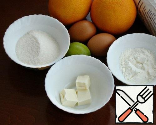 Since the buns will be stuffed with orange kurd, we will prepare the kurd himself while our sourdough rises. To do this, prepare all the necessary ingredients.