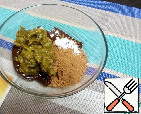 Mix together the melted chocolate, cocoa, vanillin and date-avocado puree.