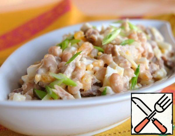 Meat Salad with canned Beans Recipe
