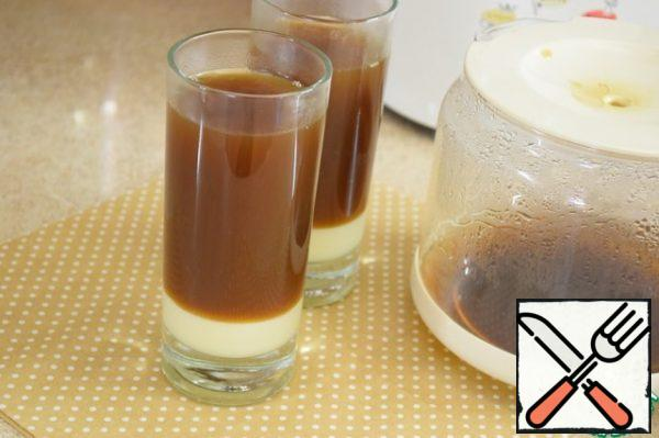 Pour the brewed hot coffee over the condensed milk. Don't worry, the layers will stay that way!
