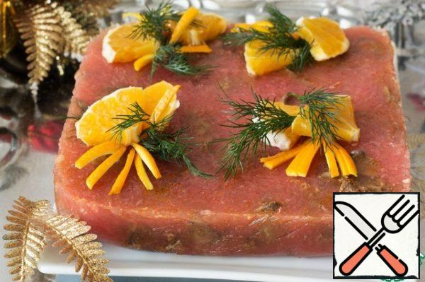 Close the film and put in a cool place until solidified. Serve with slices of citrus and herbs.