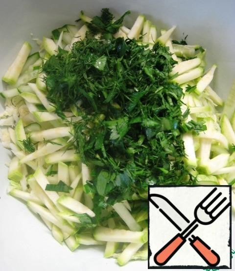 Add finely chopped parsley and dill.