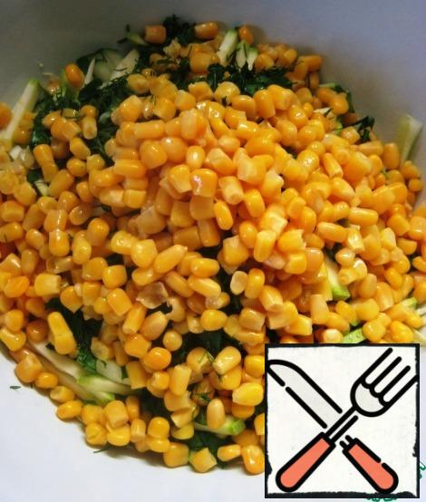 Add canned corn (pre-drain the liquid from the jar). Lightly season the vegetables with salt/pepper.