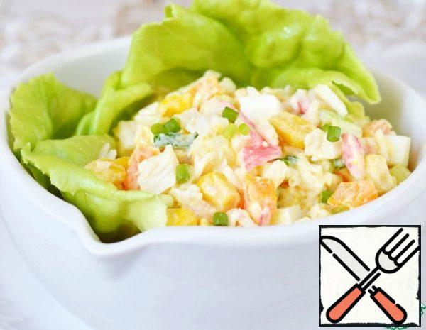 Salad with Crab Sticks and Carrots Recipe