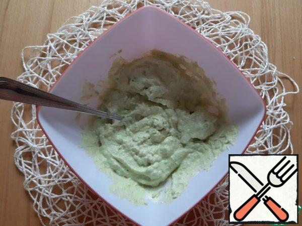 Mix avocado and cream cheese together, stir ( or puree in a blender ), season with salt and pepper to taste. Very tasty with a slice of loaf or toast.