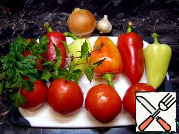 We will prepare all the necessary products. You can take any greens, according to your taste. I have basil and parsley.