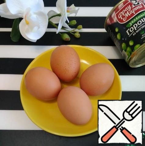 Prepare all the necessary products. Let's get started. Boil the eggs.