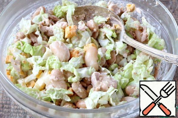 Mix all the ingredients and season with mayonnaise. Decorate the salad as desired.