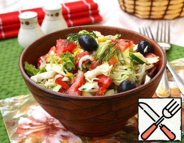 Salad with Vegetables, Olives and Corn Recipe