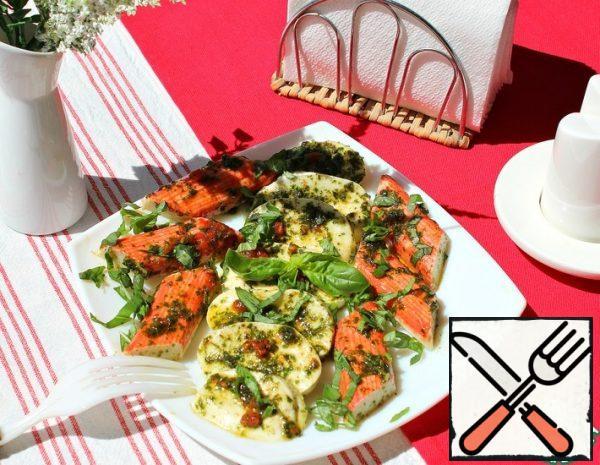 Appetizer of pickled Mozzarella and Crab Sticks Recipe