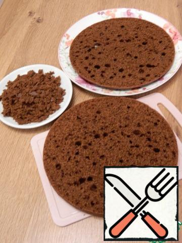 Here are the cakes turned out, a lot of holes, I plugged the biggest available crumbs. The cake is moist, soft, crumbly.